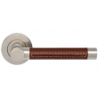 Turnstyle Designs<br />R1024 - Recess Leather, Door lever, Barrel Stitch Out